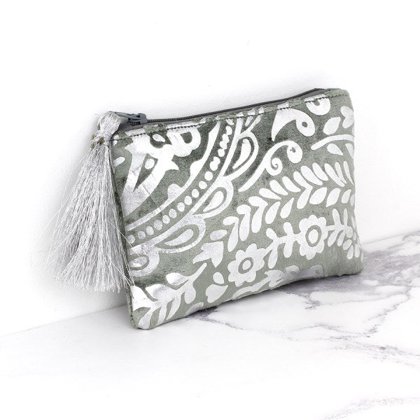 Grey velvet and silver paisley print purse with tassel