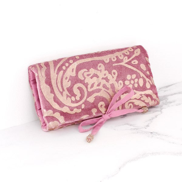 Pink velvet and rose gold paisley jewellery wrap