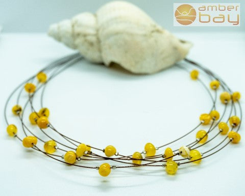 Silver, Wire and Amber Necklace