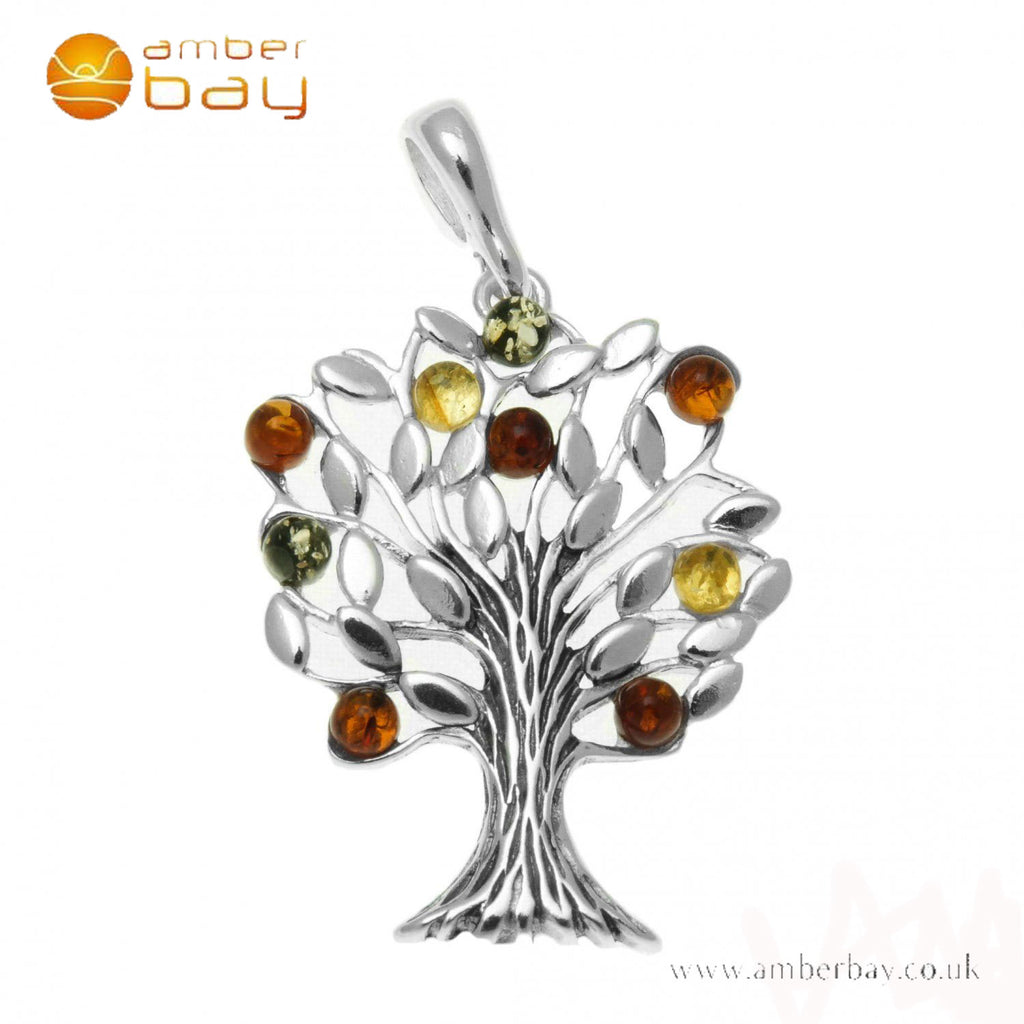 Silver Mixed Amber Tree of Life Pendant