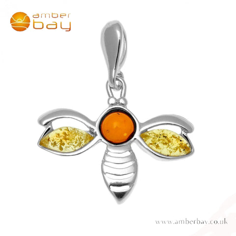 Silver Mixed Amber Bee Pendant
