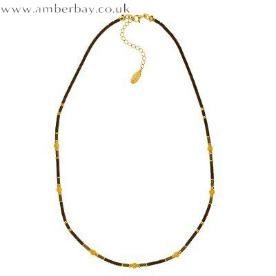 Coloured Hematite, Amber and Gold Plated Necklace