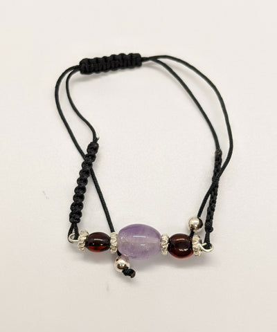 Amethyst and Amber Bracelet