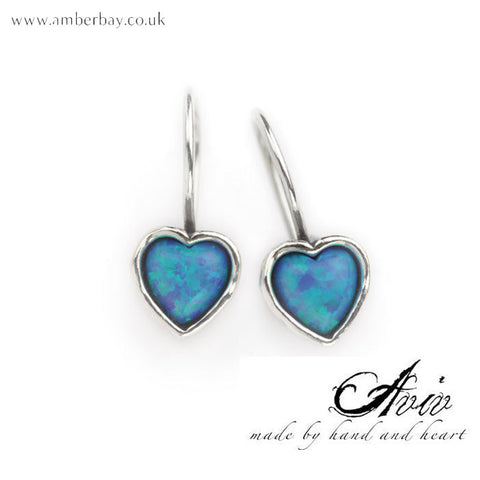 Aviv Sterling Silver and Opal Heart Drop Earrings