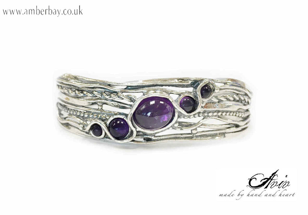 Aviv Sterling Silver and Amethyst Bangle