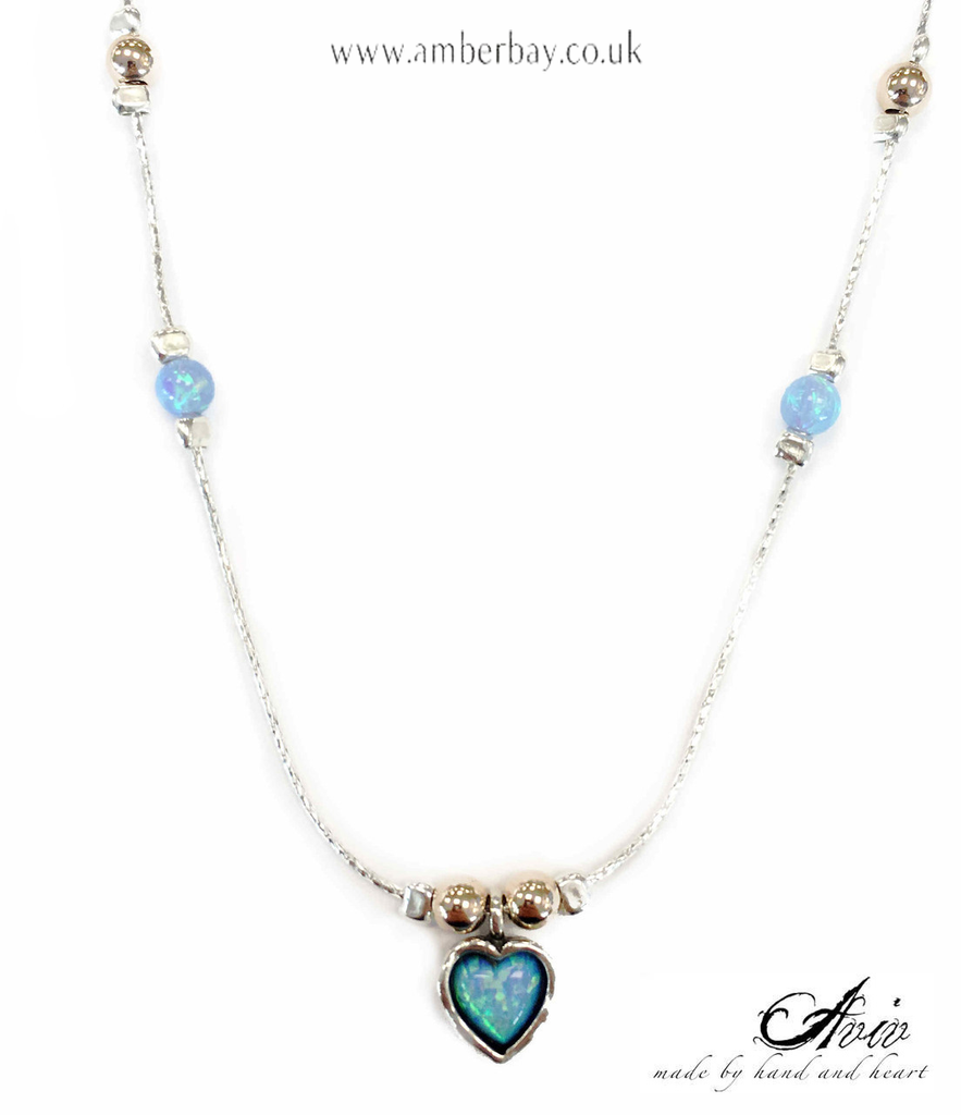 Aviv Sterling Silver, Gold Plated Beads and Opal Heart Necklace
