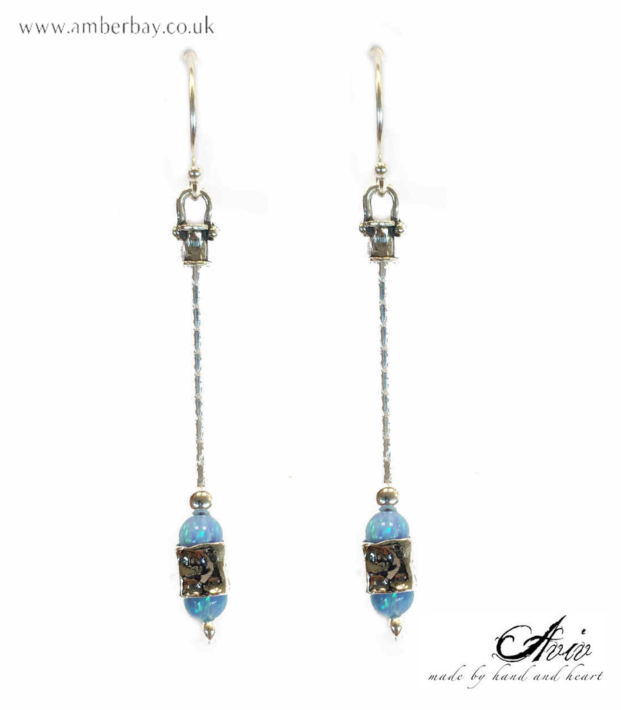 Aviv Sterling Silver and Opal Long Drop Earrings