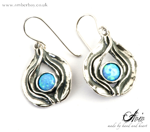 Aviv Sterling Silver and Opal Drop Earrings