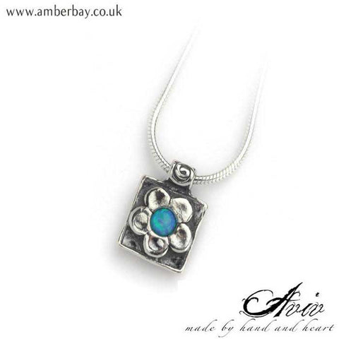 Aviv Sterling Silver and Opal Flower Necklace