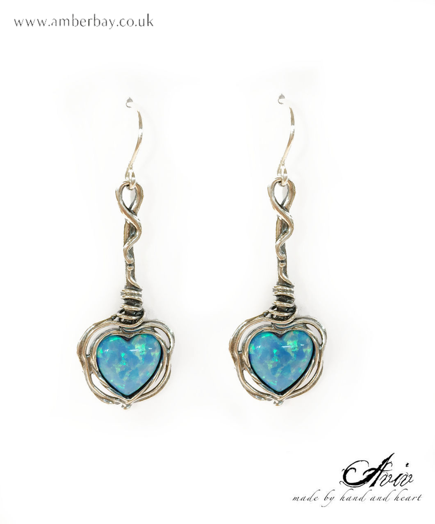 Aviv Sterling Silver and Opal Heart Shaped Drop Earrings