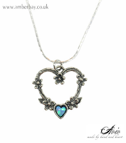 Aviv Sterling Silver and Opal Heart Pendant/Necklace