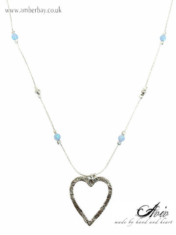 Aviv Sterling Silver and Opal Heart Necklace