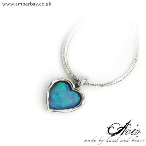 Aviv Sterling Silver and Opal Heart Neckalce