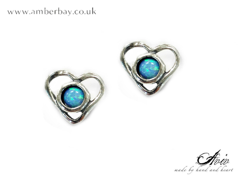 Aviv Sterling Silver and Opal Heart Shaped Stud Earrings