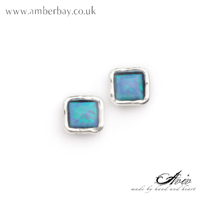 Aviv Sterling Silver and Opal Square Stud Earrings