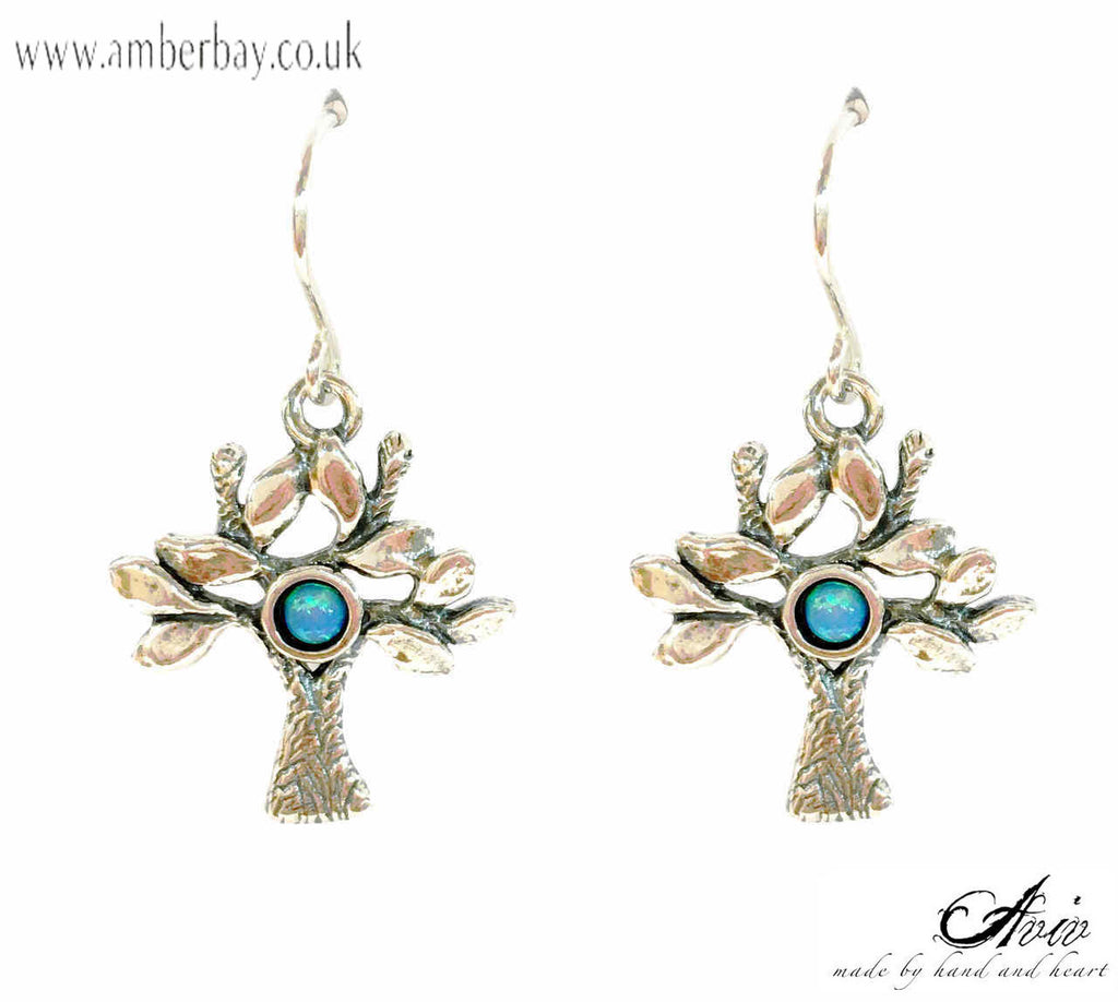 Aviv Sterling Silver and Opal Tree of Life Drop Earrings