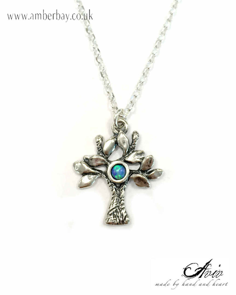 Aviv Sterling Silver and Opal Tree of Life Pendant/Necklace