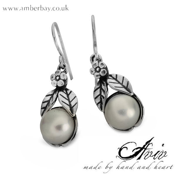 Aviv Sterling Silver and Pearl Drop Earrings