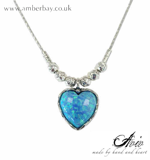 Aviv Sterling Silver and Opal Heart Shaped Necklace