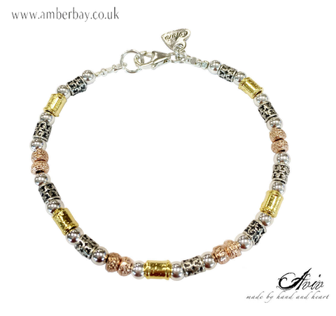 Aviv Sterling Silver, Gold and Rose Gold Plated Bead Bracelet