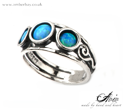 Aviv Sterling Silver and Opal Trilogy Ring