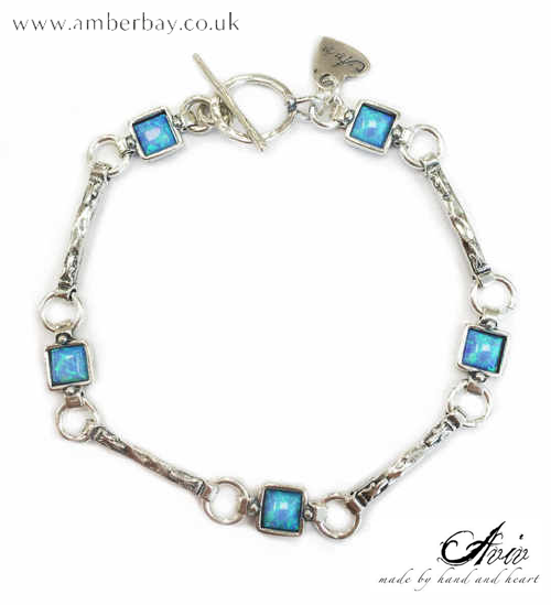 Aviv Sterling Silver and Opal Square Bracelet with T Bar