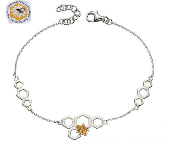 Silver and Gold Plated Bee and Honeycomb Bracelet