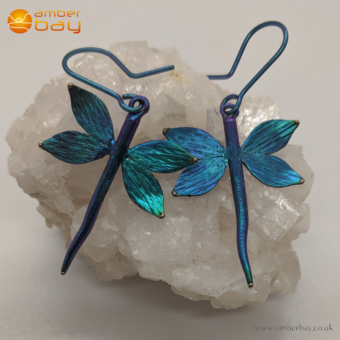 Coloured Titanium Dragonfly Drop Earrings
