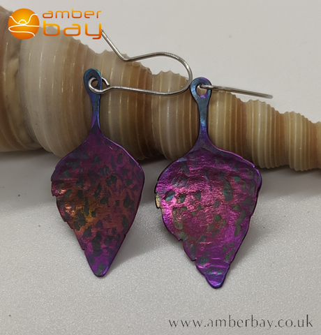 Coloured Titanium Leaf Drop Earrings