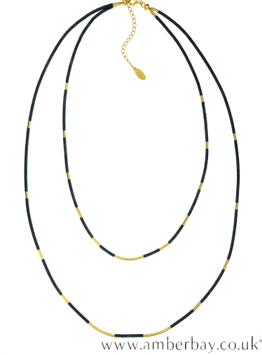 Coloured Hematite and Gold Plated Necklace