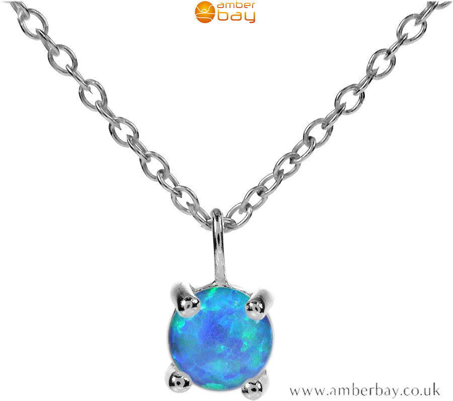 Sterling Silver and Blue Opalique Necklace