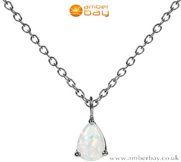 Sterling Silver and White Opalique Necklace