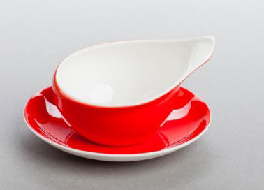 AS Cmielow Red and White Dorota Cup and Saucer