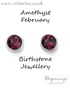 Beginnings February Amethyst Swarovski Stud Earrings E5560