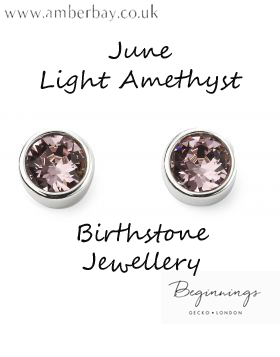 Beginnings June Light Amethyst Swarovski Stud Earrings E5563