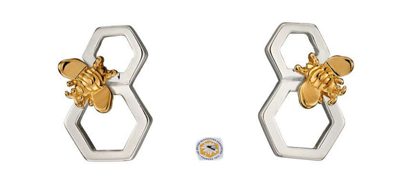 Silver and Gold Plated Bee and Honeycomb Stud Earrings