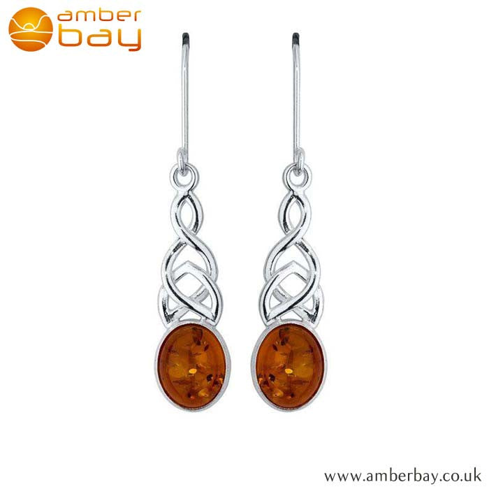 Silver and Amber Celtic Drops ER285 at Amber Bay