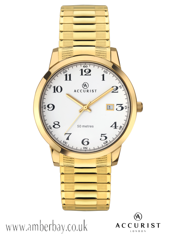 Gents Gold Tone Stainless Steel Accurist Watch 7081