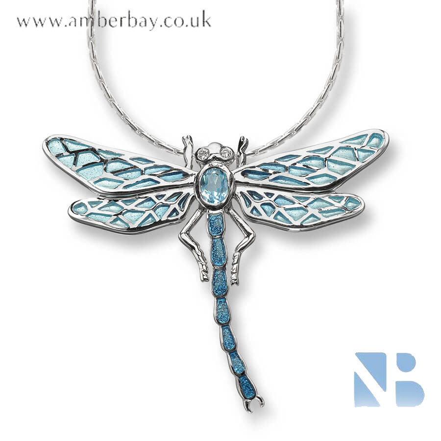 Nicole Barr Silver Blue and White Topaz Dragonfly Necklace NN0143YA