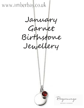 Beginnings January Garnet Swarovski Disc Pendant and Chain