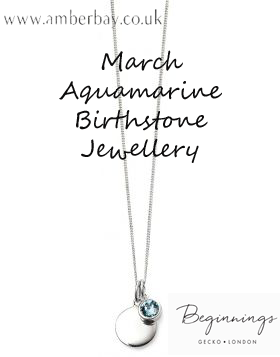 Beginnings March Aquamarine Swarovski Disc Pendant and Chain