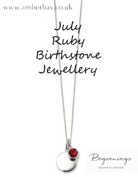 Beginnings July Ruby Swarovski Disc Pendant and Chain