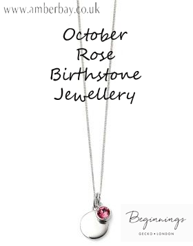 Beginnings October Rose Swarovski Disc Pendant and Chain