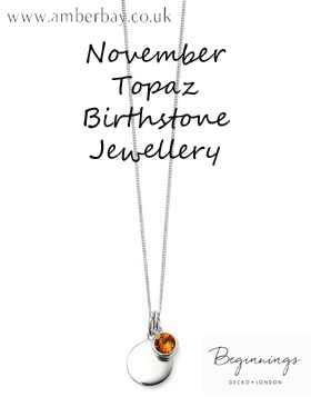 Beginnings November Topaz Swarovski Disc Pendant and Chain