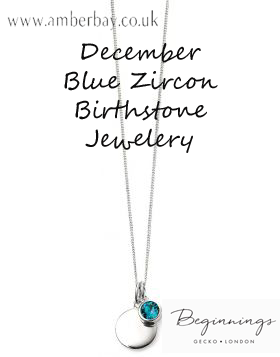 Beginnings December Blue Zircon Swarovski Disc Pendant and Chain