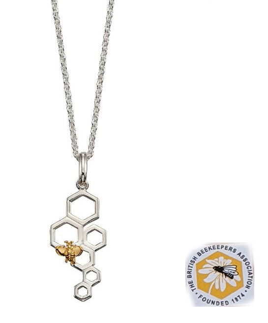 Silver and Gold Plated Bee and Honeycomb Pendant with Silver Chain