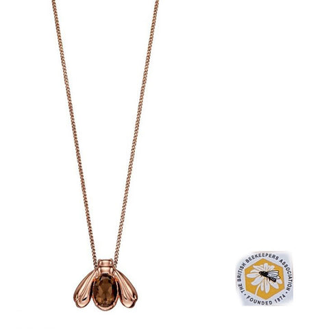 Silver and Rose Gold Plated Smoky Quartz Bee Necklace/Pendant