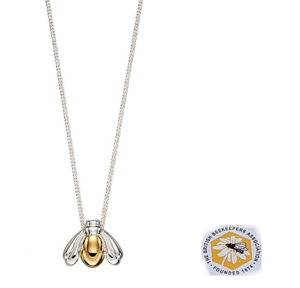 Yellow Gold Plated and Silver Bee Pendant/Necklace with Chain