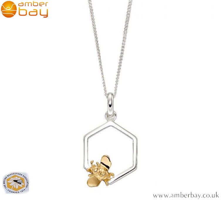 Sterling Silver and Gold Plated Bee in Honeycomb Necklace