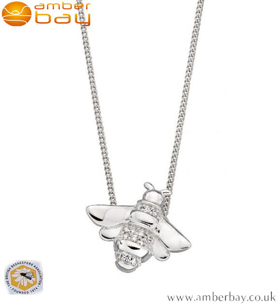 Sterling Silver and Cubic Zirconia Set Bee Pendant and Chain